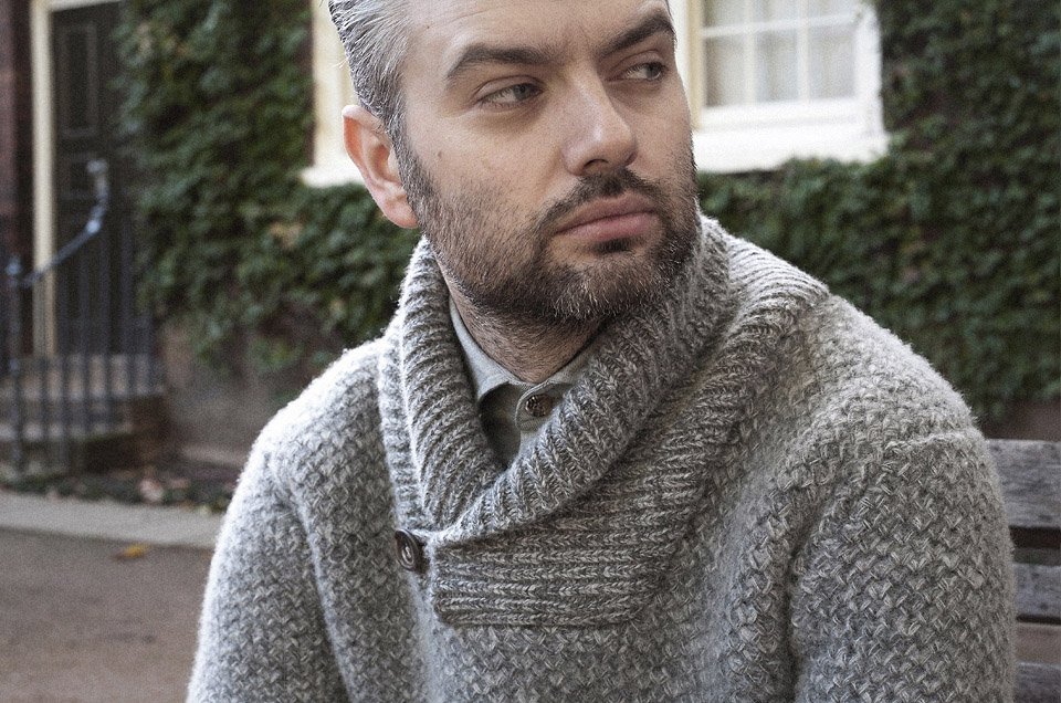 grey lambswool shawl neck jumper worn 2 on Tuck stitch knitwear page