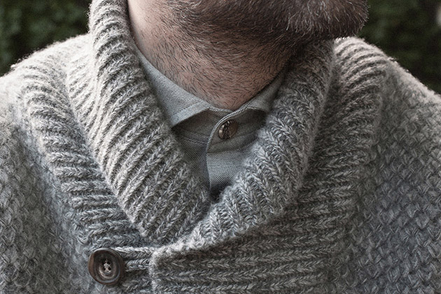 grey lambswool shawl neck jumper worn 3s on Tuck stitch knitwear page