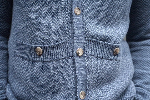 light blue herringbone cardigan worn 4s on 100% cotton page