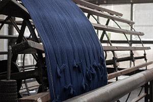 Hand-woven herringbone indigo