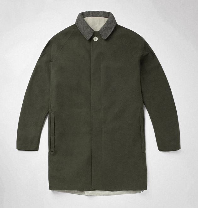 Green dry waxed cotton and cashmere mac    Garments made with the makers of the British Isles