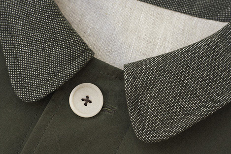 Green dry waxed cotton and cashmere mac Clothes made in England