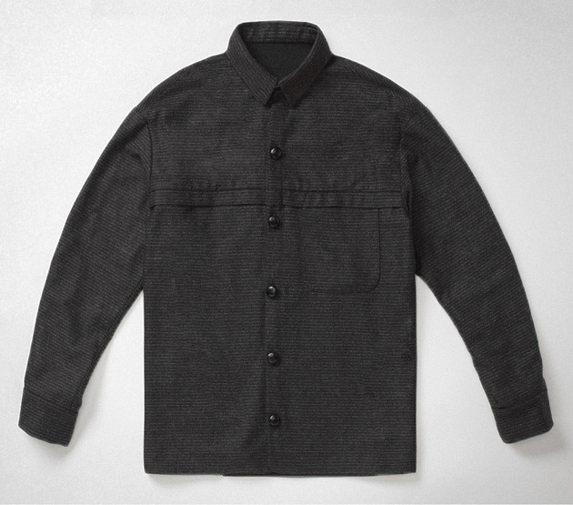 Charcoal horizontal chalk stripe overshirt    Garments made with the makers of the British Isles
