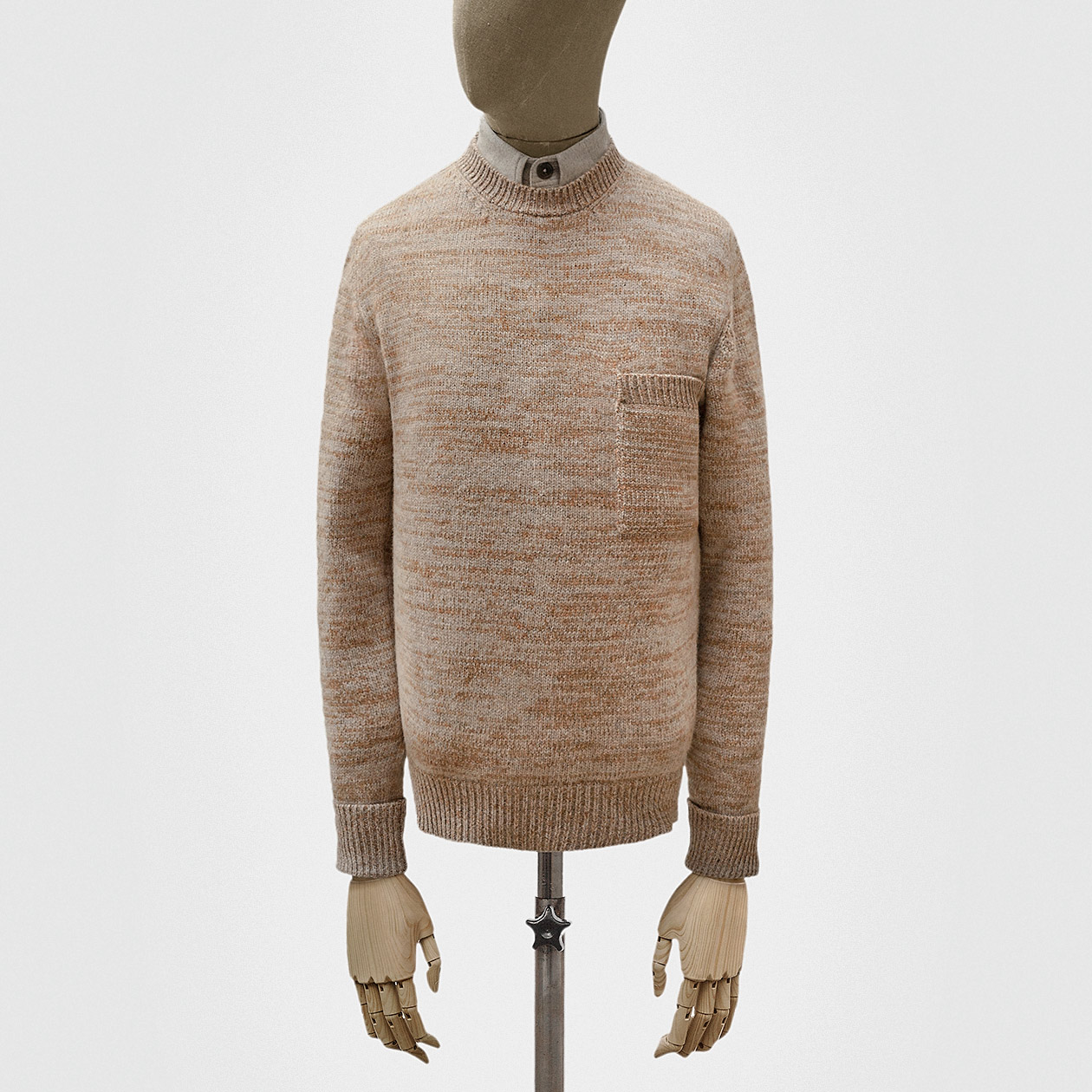 6abee8a551d Crewneck in grey and pine lambswool knit-stitch