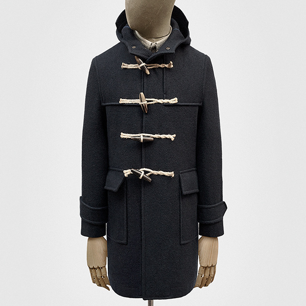 Duffle coat in navy woollen duffle cloth — S.E.H Kelly