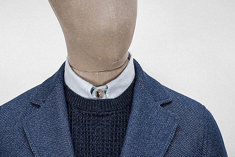 Herringbone twill indigo cotton SB1 jacket    Garments made with the makers of the British Isles