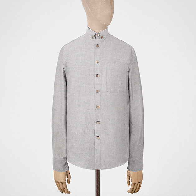Shirt with button-down collar in grey oxford cotton — S.E.H Kelly