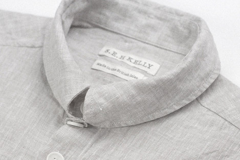 Light grey linen Kelly collar shirt Clothes made in England