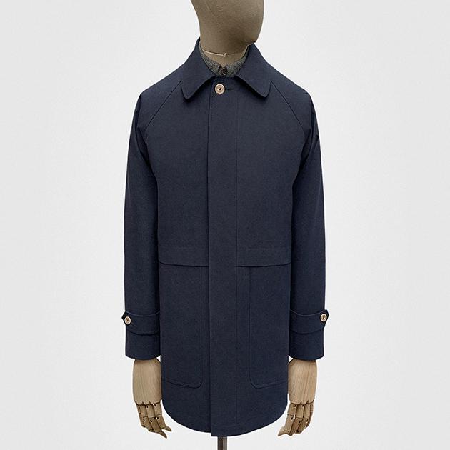 Car coat in navy blue Ventile cotton — S.E.H Kelly