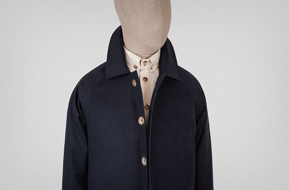 Car coat in navy blue Ventile cotton — S.E.H Kelly
