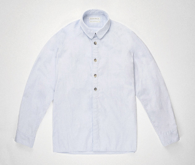 Pale blue cotton pinpoint raglan shirt Clothes made in England