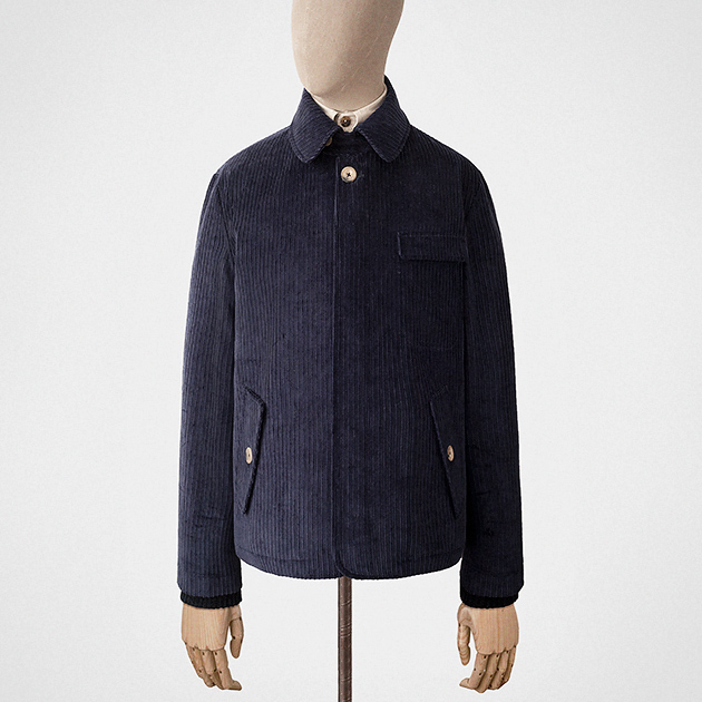 Short jacket in navy blue corduroy — S.E.H Kelly