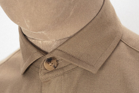 Tan wool cotton semi cutaway shirt Clothes made in England