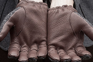 brown deerskin leather gloves brown tweed worn new 2xs on Worn page