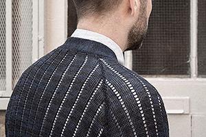 cardigan navy blue black linen worn 1xs on Worn page