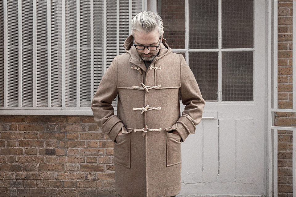Duffle coat in camel woollen duffle cloth — S.E.H Kelly
