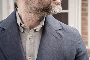 sb1 navy blue linen suit worn 4xs on Worn page